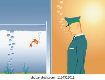 Doorman standing in front of pane of glass. Security guard watches a goldfish in an aquarium. Raster version.
