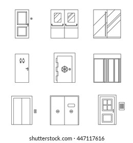 Doors for different purposes line icons. Thin illustrations of doors. Raster version