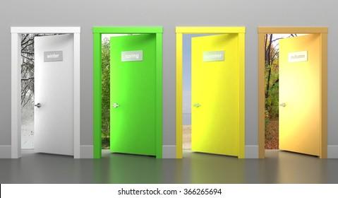Doors in different seasons. Four doors in different colors. 3d illustration Four doors in different colors.