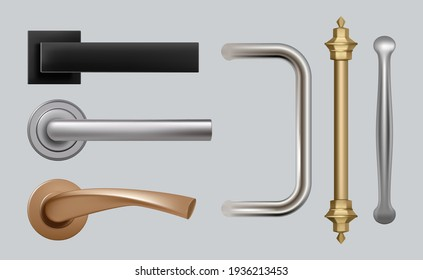 Doors handles. Modern detailed high quality pictures steel metal handles for furniture