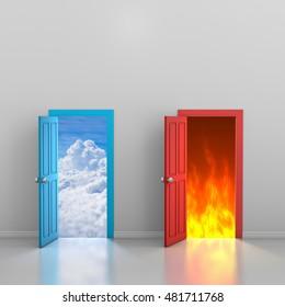 Doors to heaven and hell, 3d rendering