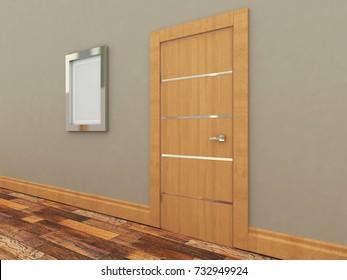 Doors in the interior. Empty picture. 3D-rendering