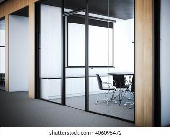 Doors to the modern meeting room in office interior. 3d rendering