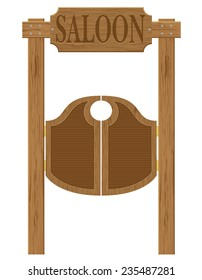 doors in western saloon wild west illustration isolated on white background