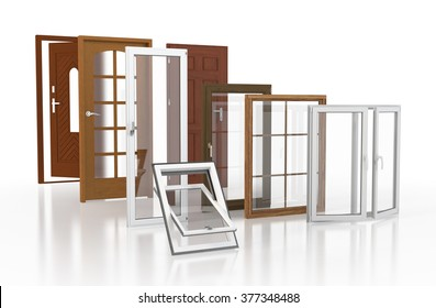 Doors and windows over white background.