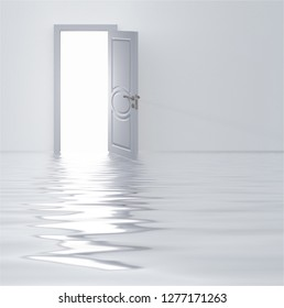 Doorway in flooded white room. 3D rendering