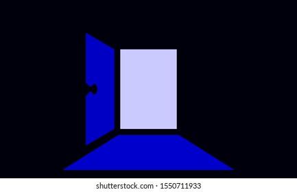 Doorway silhouette flat color illustration.