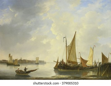 Dordrecht from Papendrecht, by Christiaan Lodewijk Willem Dreibholtz, 1830-37, Dutch oil painting. Fishing boats are moored in the foreground.