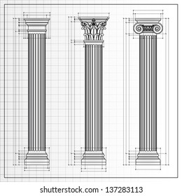 Doric, Ionic and Corinthian Classic Greek column background sketch. Ancient pillar, isolated on white