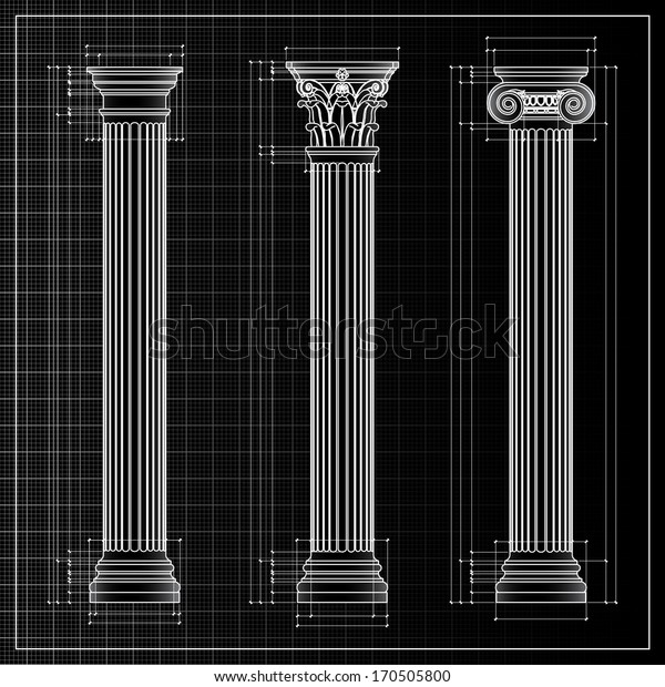 Doric, Ionic and Corinthian Classic Greek column background sketch. Ancient pillar