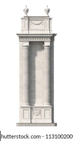 Doric stone columns on a white background with drapery and urns . 3d rendering