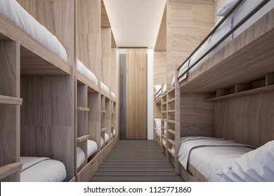 Dormitory Room at Hostel , 3d rendering