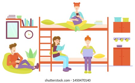 Dormitory room with man and three woman sharing bedroom. Friends studyng at home together flat illustration.