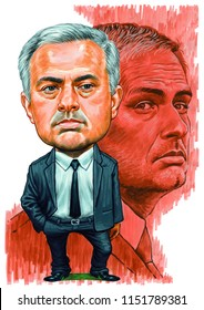José Mário dos Santos Mourinho Félix, GOIH, known as José Mourinho is a Portuguese football manager and former football player. Illustration,Caricature,Design,August,08,2018