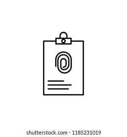 dossier with fingerprint icon. Element of crime and punishment icon for mobile concept and web apps. Thin line dossier with fingerprint icon can be used for web and mobile on white background