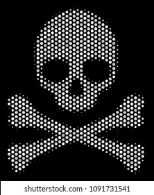 Dot white death skull icon on a black background. Raster halftone collage of death skull pictogram combined with circle points.