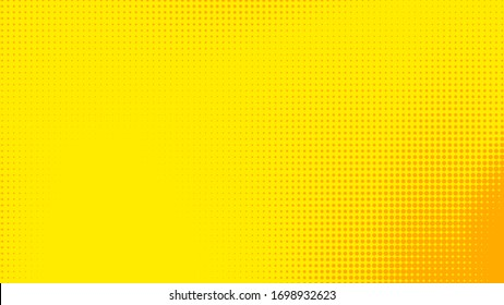 Dots halftone yellow orange color pattern gradient texture with technology digital background. Dots pop art comics with summer background.