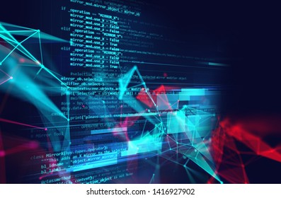 dots and lines connection on abstract technology background.3d illustration