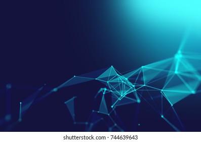 points et lignes de connexion sur fond abstrait technologique.illustration 3d