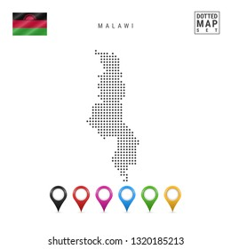 Dots Pattern Map of Malawi. Stylized Simple Silhouette of Malawi. The National Flag of Malawi. Set of Multicolored Map Markers. Illustration Isolated on White Background.