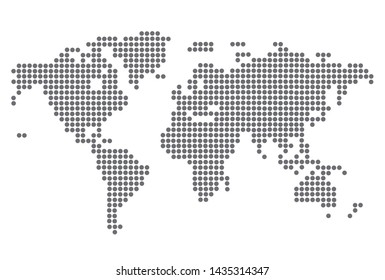 dotted blank black world map