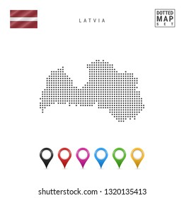 Dotted Map of Latvia. Simple Silhouette of Latvia. The National Flag of Latvia. Set of Multicolored Map Markers. Illustration Isolated on White Background.