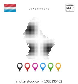 Dotted Map of Luxembourg. Simple Silhouette of Luxembourg. The National Flag of Luxembourg. Set of Multicolored Map Markers. Illustration Isolated on White Background.