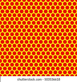 Dotted repeatable popart like duotone pattern. Speckled red yellow pointillist background. Seamlessly repeatable.