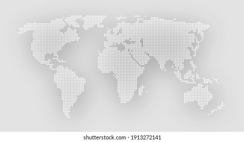 Dotted world map on a gray background.  illustration