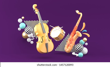 Double bass, drum, saxophone surrounded by colorful balls on a purple background.-3d rendering.