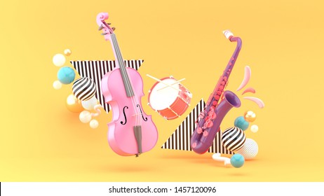 Double bass, drum, saxophone surrounded by colorful balls on an orange background.-3d rendering.