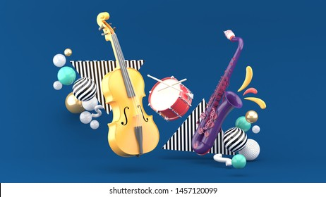 Double bass, drum, saxophone surrounded by colorful balls on a blue background.-3d rendering.