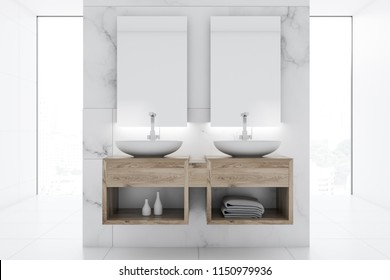 Double bathroom sink standing on a wooden shelf with two vertical mirrors on a marble wall. 3d rendering