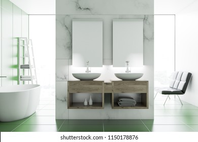 Double bathroom sink with two vertical mirrors on a marble wall. A bathtub on a green tile floor. 3d rendering