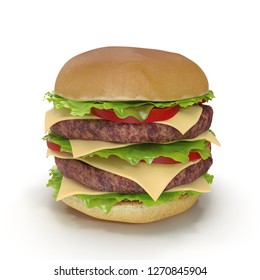 Double Burger 3D Illustration Isolated on White Background Isolated