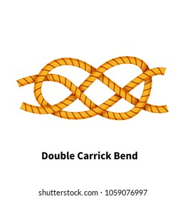 Double Carrick Bend sea knot. Bright colorful how-to guide isolated on white