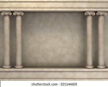 Double Classic Pillars Arc. 3d rendering