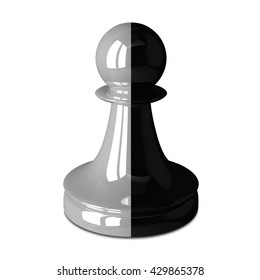 Double color two-faced black and white glossy shiny chess pawn isolated on white. Traitor, betrayal, business, unity, partnership and teamwork concept. 3D illustration