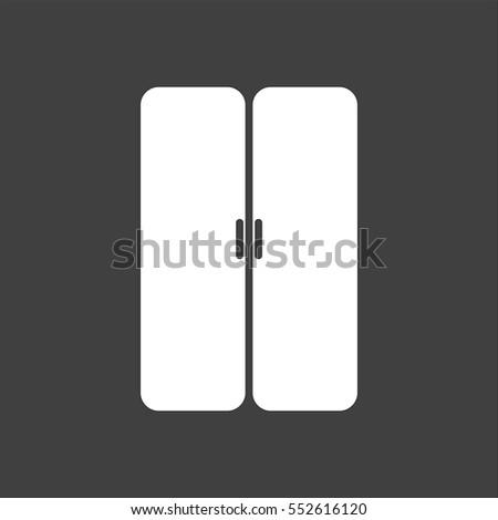 Double Door Icon Flat White Symbol Stock Illustration 552616120