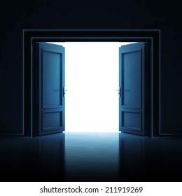 double door opened in dark to light room 3D illustration