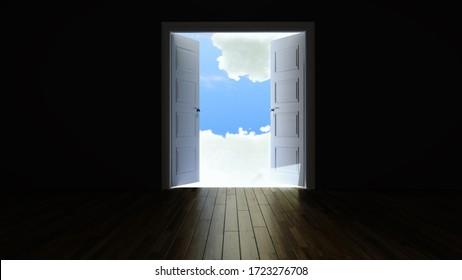 double door opening to the clouds from the dark empty room with wooden floor realistic 3D rendering