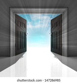 double doorway with blue sky and flare illustration