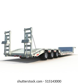 Double Drop Lowboy Tri Axle Trailer on white. 3D illustration