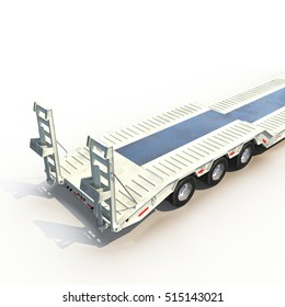 Double Drop Lowboy Tri Axle Trailer on white. 3D illustration