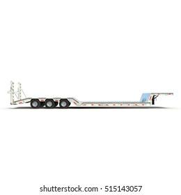 Double Drop Lowboy Tri Axle Trailer on white. Side view. 3D illustration