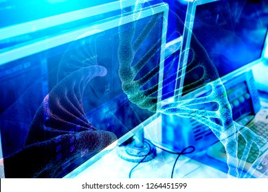 Double exposure, a 3D rendering of the DNA molecule from viruses to the background monitor medical equipment for the treatment of cancer