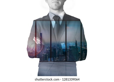 double exposure businessman modern office with skyline view 3D Illustration