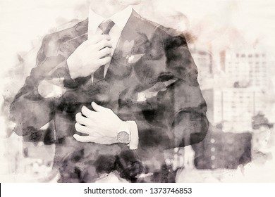 double exposure of businessman in watercolors