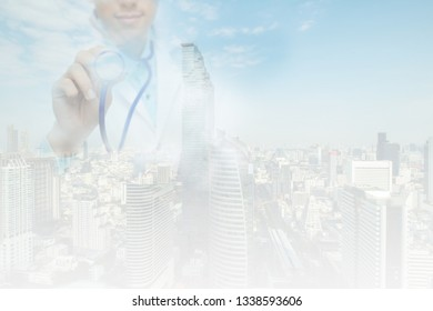 Double exposure of doctor on pollution concept