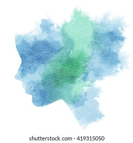 Double exposure illustration. Woman silhouette plus abstract water color painted. Digital art painting.